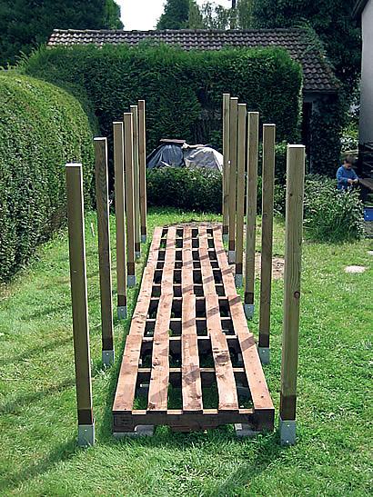 základní konstukce přístřešku na dřevo